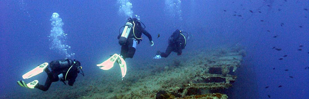 Divers on wreck of Zenobia